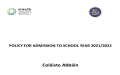 New Admission Policy  2021/22